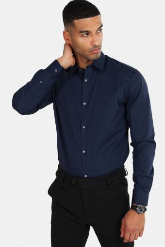 Non Iron Skjorte L/S Navy Blazer
