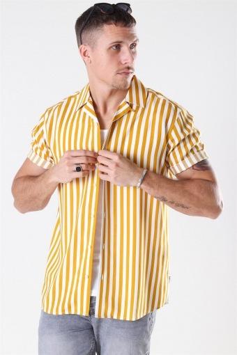 Wayne Striped Viscose Skjorte Golden Spice