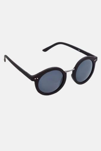 Fashion 1517 Rund Solbriller Black Rubber/Gun Dark Grey Glass
