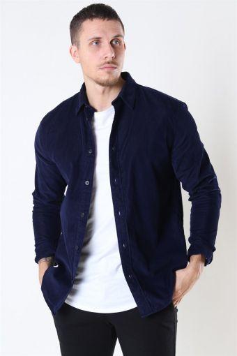 Reg Henley Fløjls Skjorte LS Maritime Blue