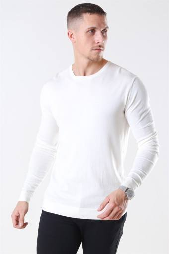 Tailored & Originals Mont Strikke O-Neck Milky White