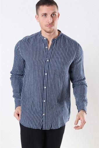 Luke LS Linen Mandarine Skjorte Dress Blues/White Stripes