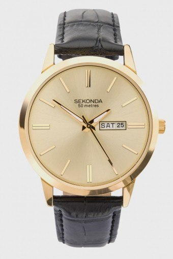 1838 Classic Leather Klokke Black/Gold