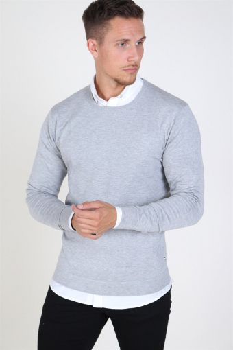 Tailored & Originals Mont Strikke Light Grey Melange