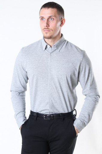 Slim Oliver Knit Flex Skjorte LS Medium Grey Melange