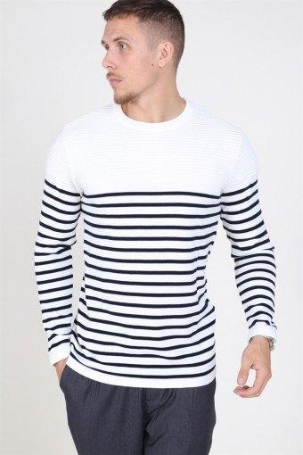 Link Stripe Strikke Off White/navy