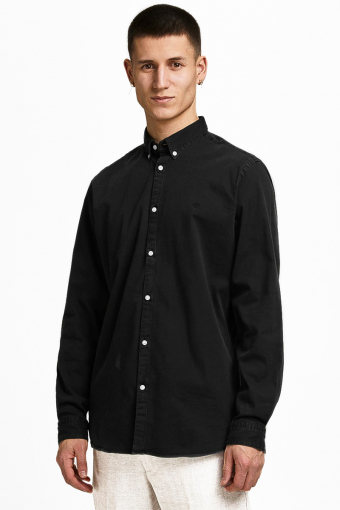 JPRBLALOGO STRETCH DENIM SHIRT L/S STS Black Denim SLIM FIT