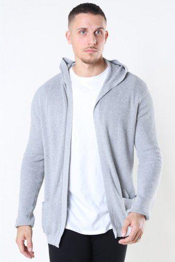 Strikke Cardigan Light Grey Melange