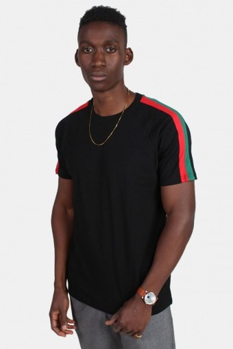 Klokkeban Classic TB2059 Stripe Shoulder Raglan T-shirt Black/Firered/Green