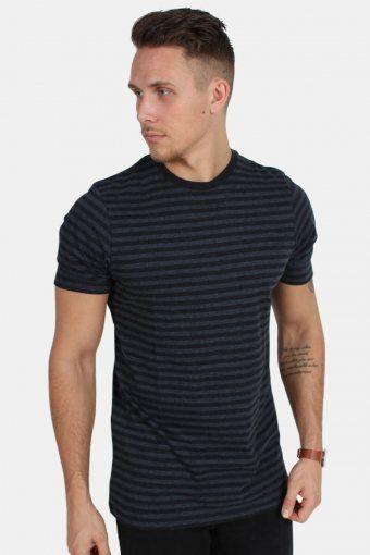 T-skjorte Striped Heather Blue/Black