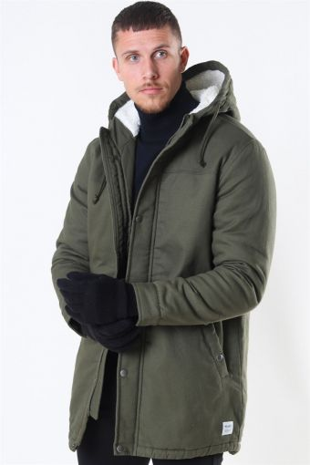 Yanic Teddy Hood Parka Jakke Olive Night