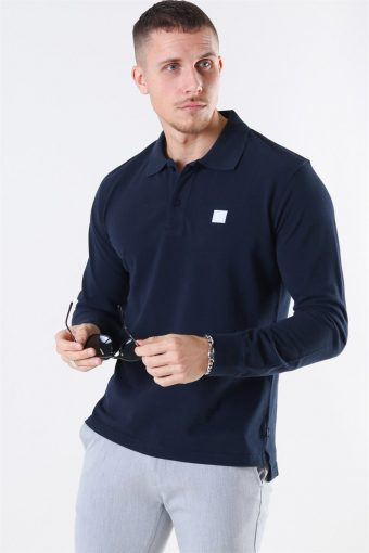 Piece LS Polo Dark Navy/White