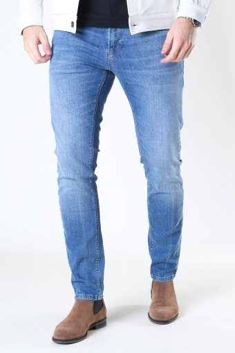 Clean Cut David Slim Stretch Jeans Mid Blue Denim