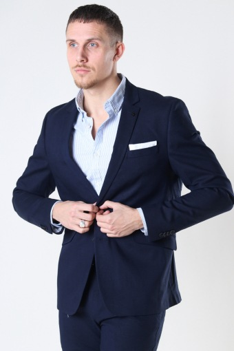 Cotton Linen Blazer Navy