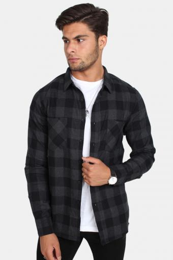 Checked Flanell Skjorte Black/Charcoal