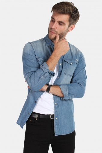 Sheridan Skjorte Medium Blue Denim