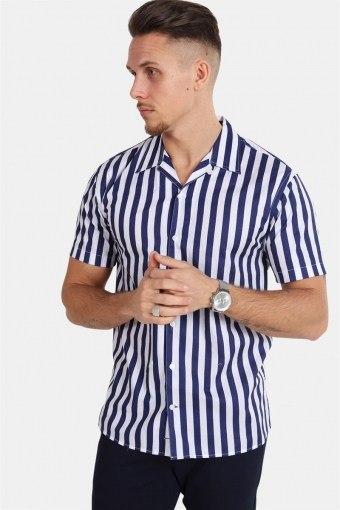 Cuba S/S Gr.78 Skjorte White/Dark Blue