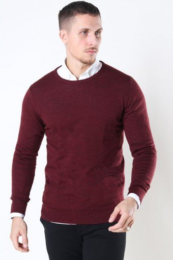 Clean Cut Merino Wool Crew Strikke Bordeaux Mel