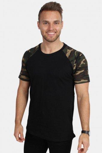 Klokkeban Classics TB639 Raglan Contrast T-shirt Blk/woodcamo
