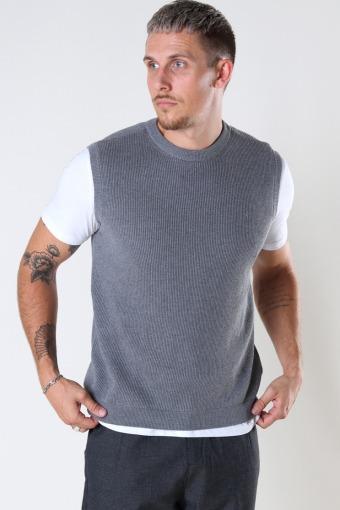 Basic Organic Knit Vest Light Grey Melangé