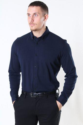 Slim Oliver Knit Flex Skjorte LS Dark Sapphire