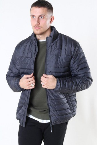 Paul Quilted Highneck Jakke Grey Pinstripe
