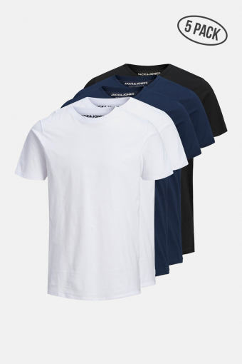 JJEORGANIC BASIC TEE SS O-NECK 5PK MP BLK NAVY WHT