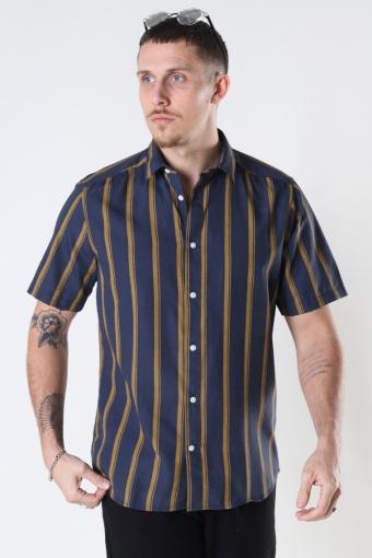 Onstravis Life Ss Striped Thin Oxford Re Dress Blue