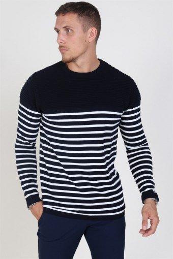 Link Stripe Strikke Navy/Off White
