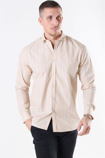 Ramon Stripe Skjorte Khaki/ White