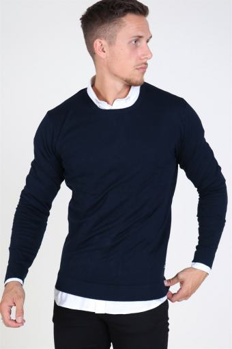 Tailored & Originals Mont O-neck Strikke Insignia Blue