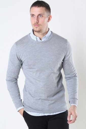 Clean Cut Merino Wool Crew Strikke Light Grey Mel