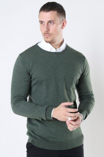 Clean Cut Merino Wool Crew Strikke Army Melange