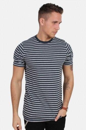 T-skjorte Striped Oxford Grey/Heather Blue