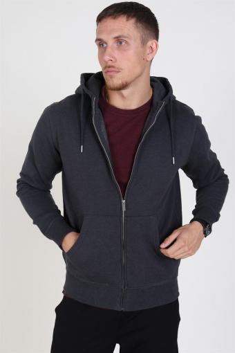 Organic Morgan Zip Genser Dark Grey Mel