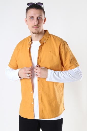 Cotton / Linnen Shirt S/S Pale Orange