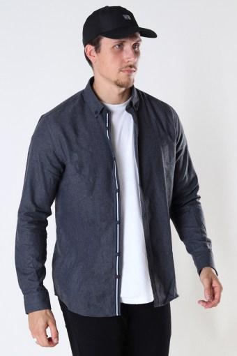 Johan Herringbone flannel shirt Black