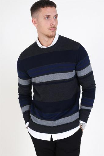 Fast Stripe Strikke Maritime Blue