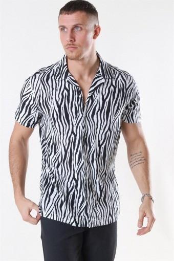 Jack & Jones Animal Viskose Skjorte S/S White