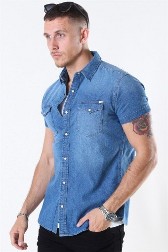 Sheridan Skjorte S/S Medium Blue Denim